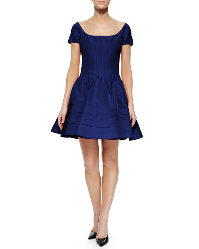 Classic Taffeta Party Dress, Indigo