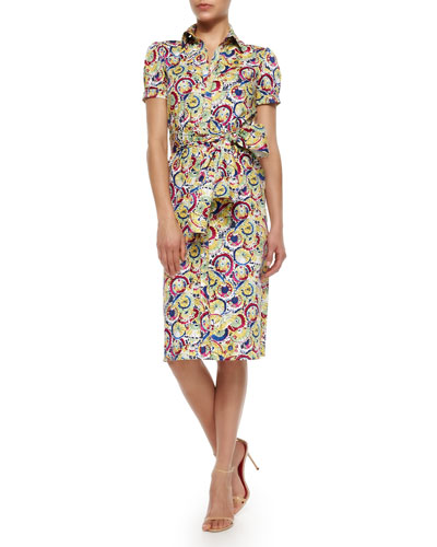 Belted Printed Stretch-Cotton Shirtdress