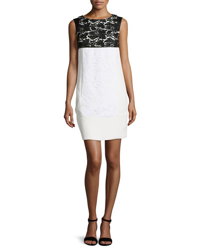 Two-Tone Lace-Jacquard Shift Dress