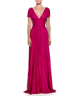 Crossover Gathered Pleated Gown