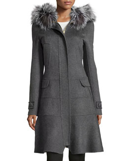 Fur-Trimmed Hooded Fluted Coat