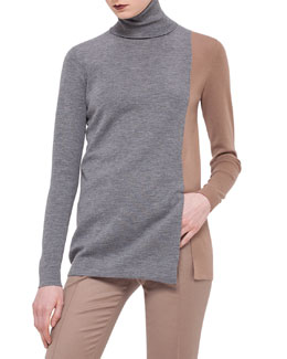 Colorblock Knit Turtleneck Sweater