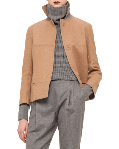 Boxy Wool-Blend Snap Jacket