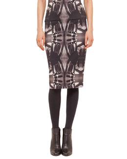 Hand-Print Midi Pencil Skirt