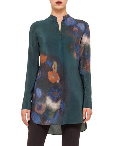 Floral-Print Button Tunic