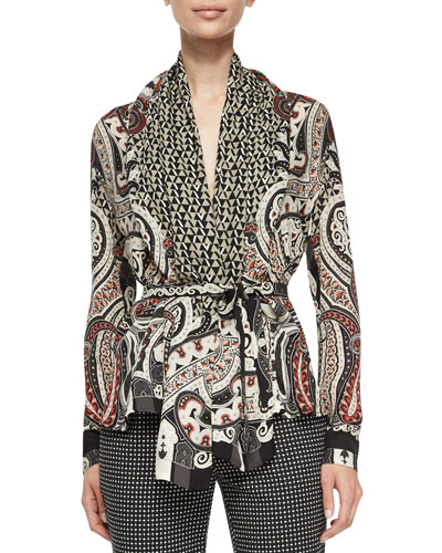 Silk Paisley/Geo Printed Top