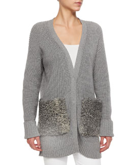 Blend-Cashmere Fur-Pocket Cardigan