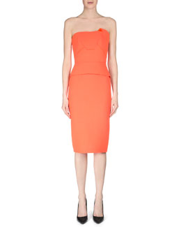 Cicada Strapless Wool Crepe Dress, Orange