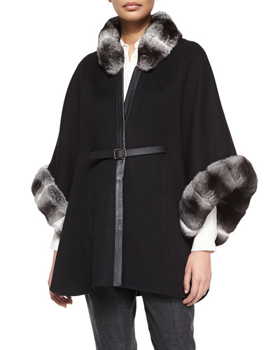 Audrey Chinchilla Double Cashmere Cape