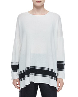 Ribbon-Striped Cashmere A-Line Sweater