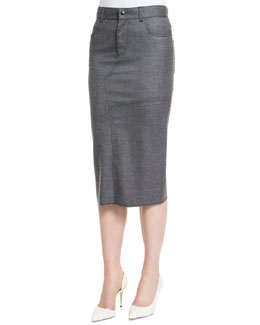 Patched-Seam Wool-Cashmere Pencil Skirt, Gray Melange