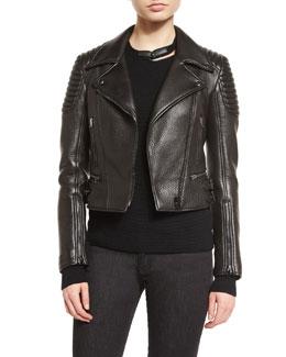 Souffle Lambskin Leather Biker Jacket, Black