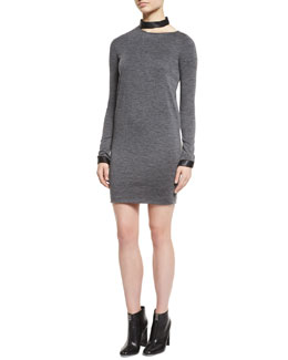 Stretch-Wool Jersey Dress with Leather Trim