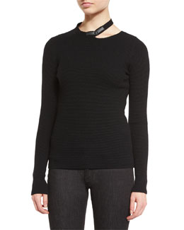 Split-Crew-Neck Pique-Knit Sweater, Black