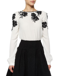 Long-Sleeve Floral-Embellished Blouse