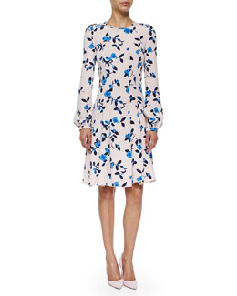 Floral-Print Long-Sleeve Dress, Soft Pink