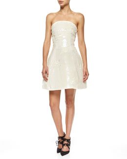 Strapless Floral Sequined Fit-and-Flare Dress, Ivory