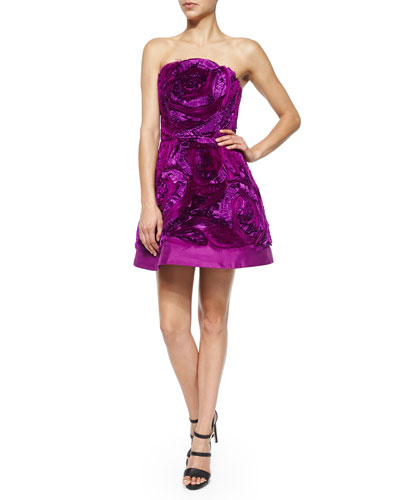 Strapless Organza & Taffeta Fit-and-Flare Dress