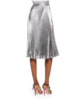 Accordion-Pleated Shimmer Midi Skirt
