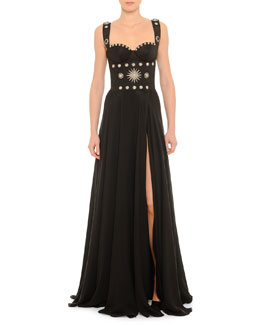 Geometric Hardware-Detailed Bustier Gown