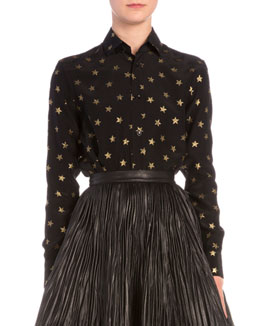Gold Star-Print Button Blouse