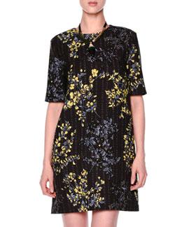 Floral Grid-Print Shift Dress