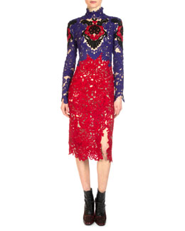Orlando Colorblock Lace Sheath Dress
