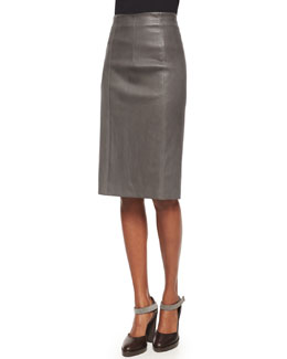 Seamed Leather Pencil Skirt, Gray