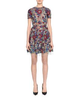 Short-Sleeve Jewel-Neck Lace Applique Dress, Floral