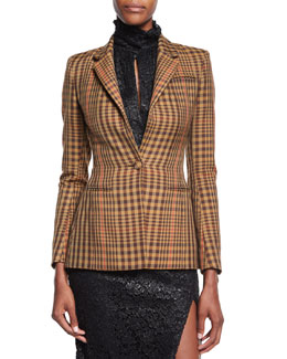 Acacia Plaid Twill Blazer