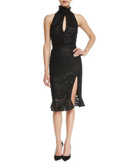 High-Neck Slit-Front Lace Dress