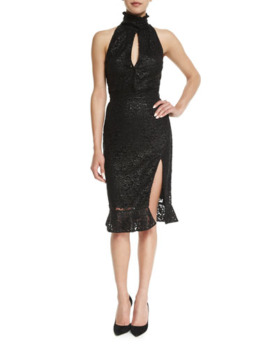 High-Neck Slit-Front Lace Dress