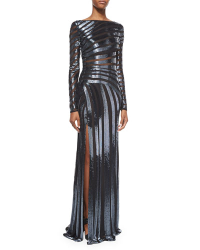 Long-Sleeve Spiral Beaded Sheer Gown