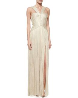 Sleeveless V-Neck Grecian Gown, Gold Metallic