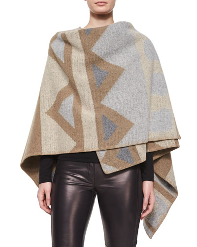 Angular Patchwork Poncho, Black