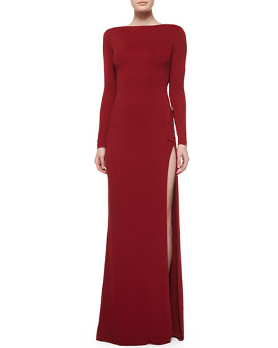 Asymmetric Open-Back Side-Slit Gown