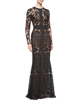 Long-Sleeve Sheer Embroidered Lace Gown