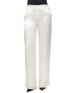 Misa Satin Wide-Leg Pants, White