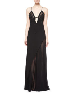 Floral-Embroidered Chiffon Negligee Gown