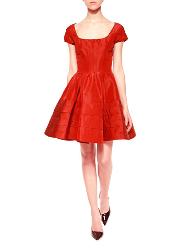 Flounce-Skirt Taffeta Dress