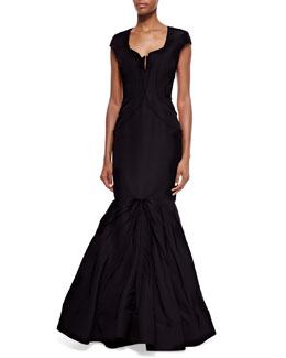 Cap-Sleeve Ruffled Mermaid Gown