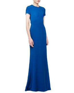 Open-Back Crepe Gown, Atlas
