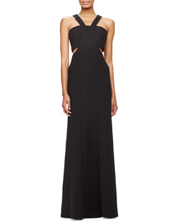 Cutout Crossover-Neckline Gown