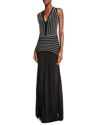 Sleeveless Striped V-Neck Gown, Black Combo