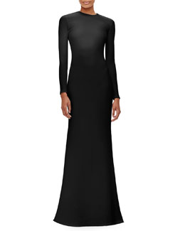 Long-Sleeve Crewneck Crepe Gown