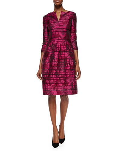 Metallic Rose-Print 3/4-Sleeve Dress, Bordeaux