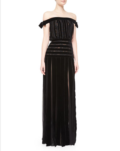 Off-The-Shoulder Velvet-Stripe Gown, Black