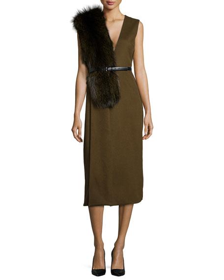 Fox Fur-Trimmed Wool Sheath Dress