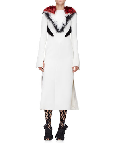 Fur-Trimmed Long-Sleeve Dress, Ivory