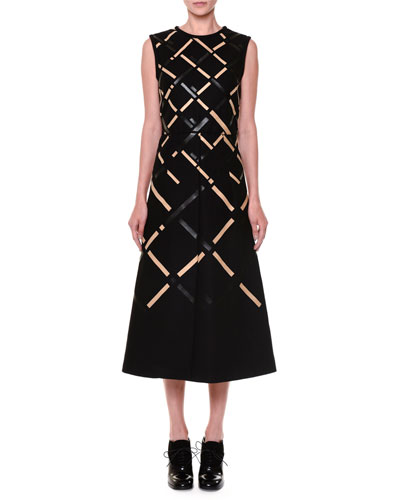 Vernisage Two-Tone Leather-Trimmed Midi Dress